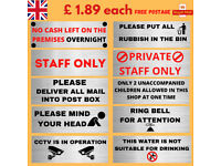 shops business information warning stickers self adhesive free postage