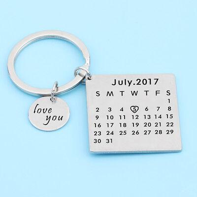 Love You Calendar Keychain Custom Date Keyring Date Highlight By Heart Keyfob
