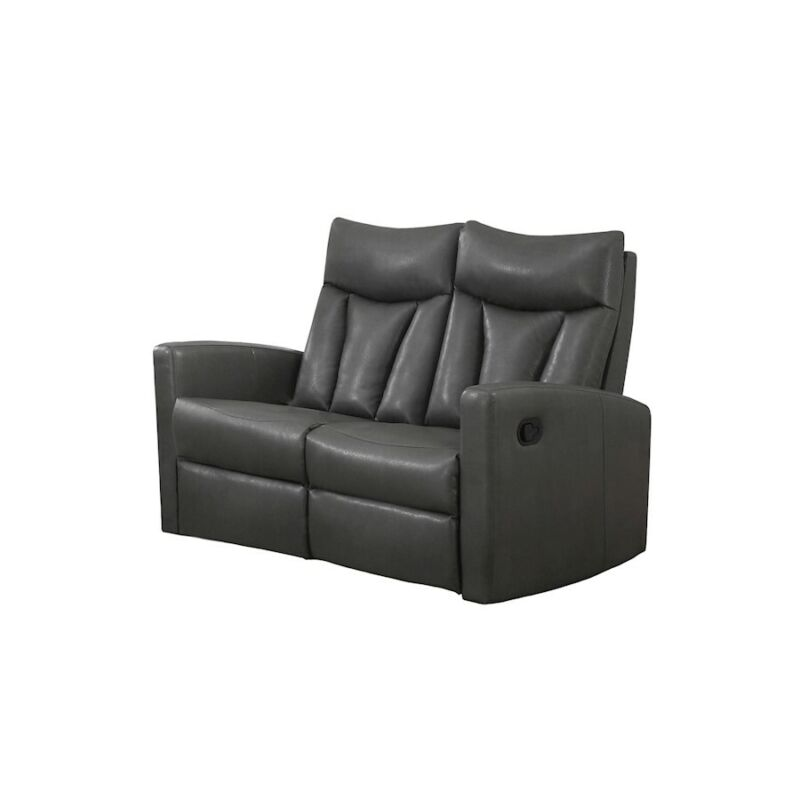 Indigo Home Reclining, Love Seat, Charcoal Grey Bonded Leather - I87gy-2