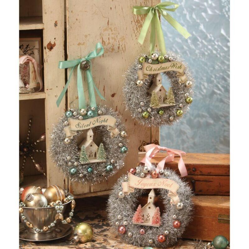 Bethany Lowe Putz Church Pastel Wreath Set of 3 Bottle Brush Christmas Decor