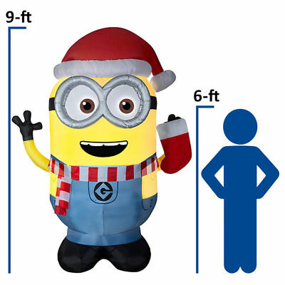 9 FT INFLATABLE DAVE MINION DESPICABLE ME AIR BLOWN CHRISTMAS LIGHTED BLOW UP