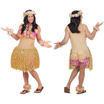 HERREN HAWAIIANERIN KOSTÜM # Hawaiianer Karibik Südsee Hula Kleid Bastrock 65742
