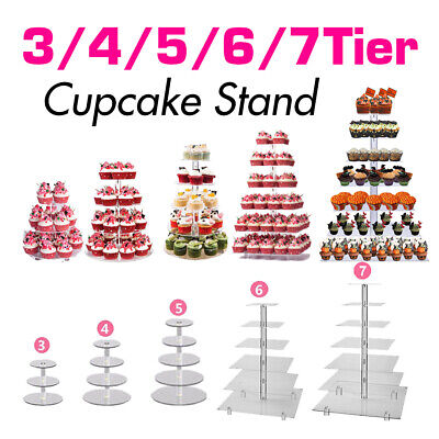 3/4/5/6/7 Tiers Acrylic CupCake Stand Tower Display Cake Stand Wedding Party