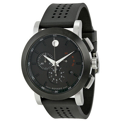 Movado Museum Black PVD Steel Chronograph Mens Watch 0606545