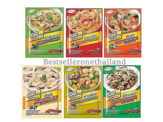 5 Flavors Ajinomoto RosDee Menu Thai Food Powder Green Curry Tom Yum Kung Thai