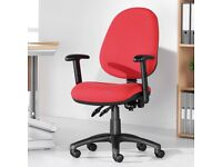 11 - LARGE BACK OFFICE CHAIRS WITH ADJUSTABLE ARMS - IN RED - VG COND