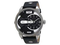 Diesel Mini Daddy DZ 7307 Black Leather Brand New Mens Watch with Tags RRP £229