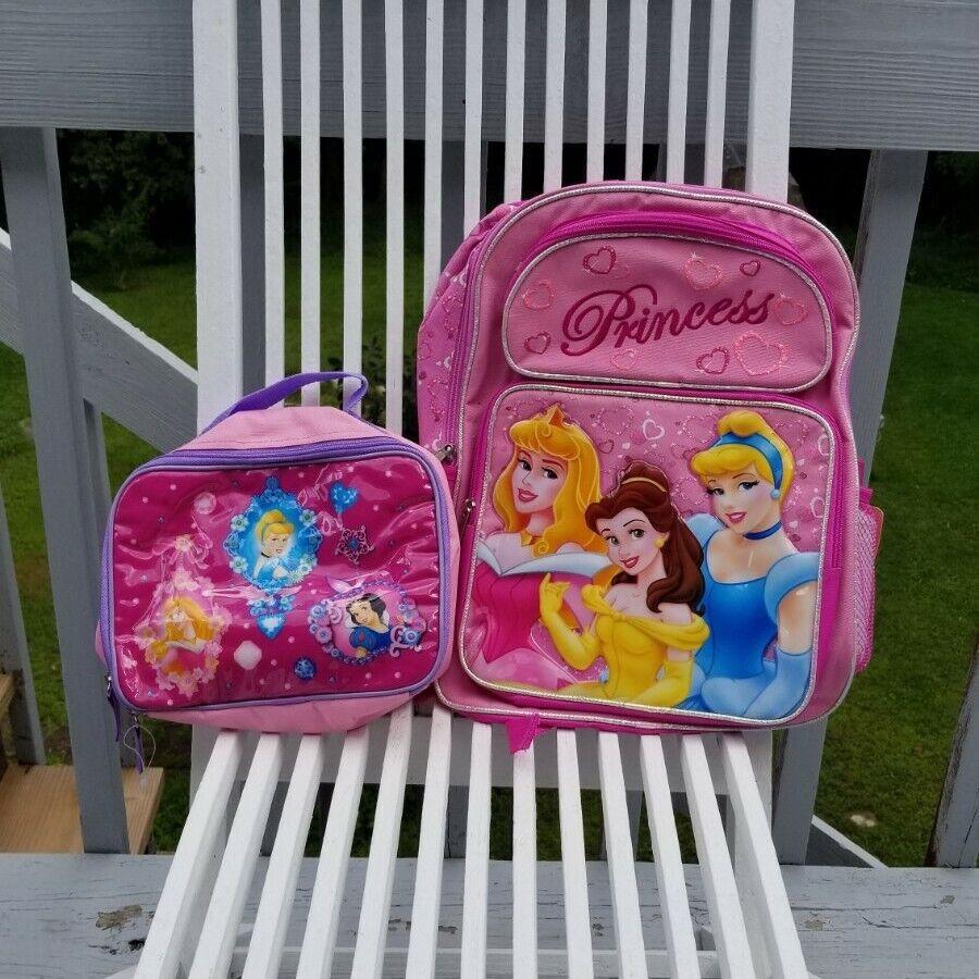 "Disney Princess Girls 16"" School Backpack and Lunch Box Set"