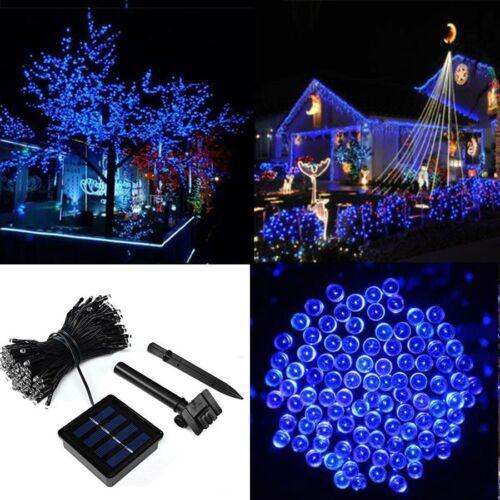 12M 100 Solar LEDs Lichterkette Solarleuchte Beleuchtung für Garten Außen Blau