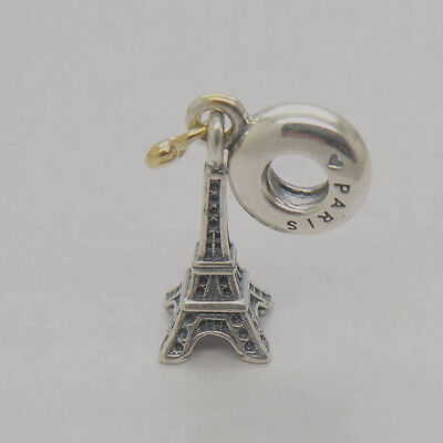 Eiffel Tower Dangle (My Love Heart Eiffel Tower Pendant Charms Authentic Sterling Silver Dangle)
