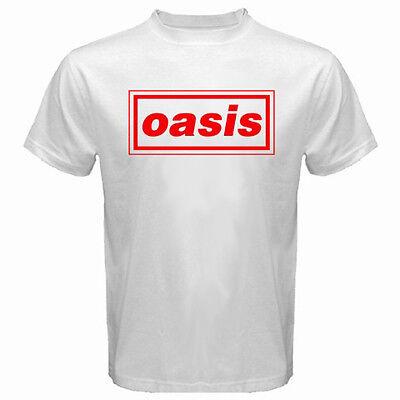 New Oasis British Rock Band Logo Men's White T-Shirt Size S to 3XL ()