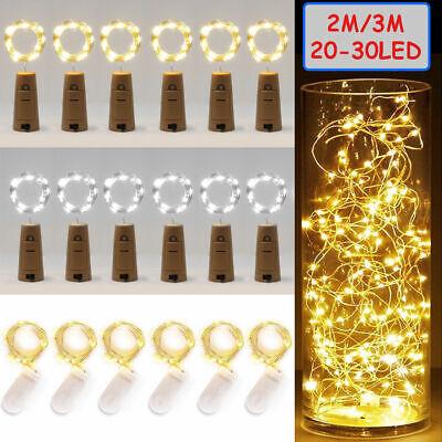 20 LED Wine Bottle Cork Shape Lights Night Fairy String Light Lamp Xmas Party 2M