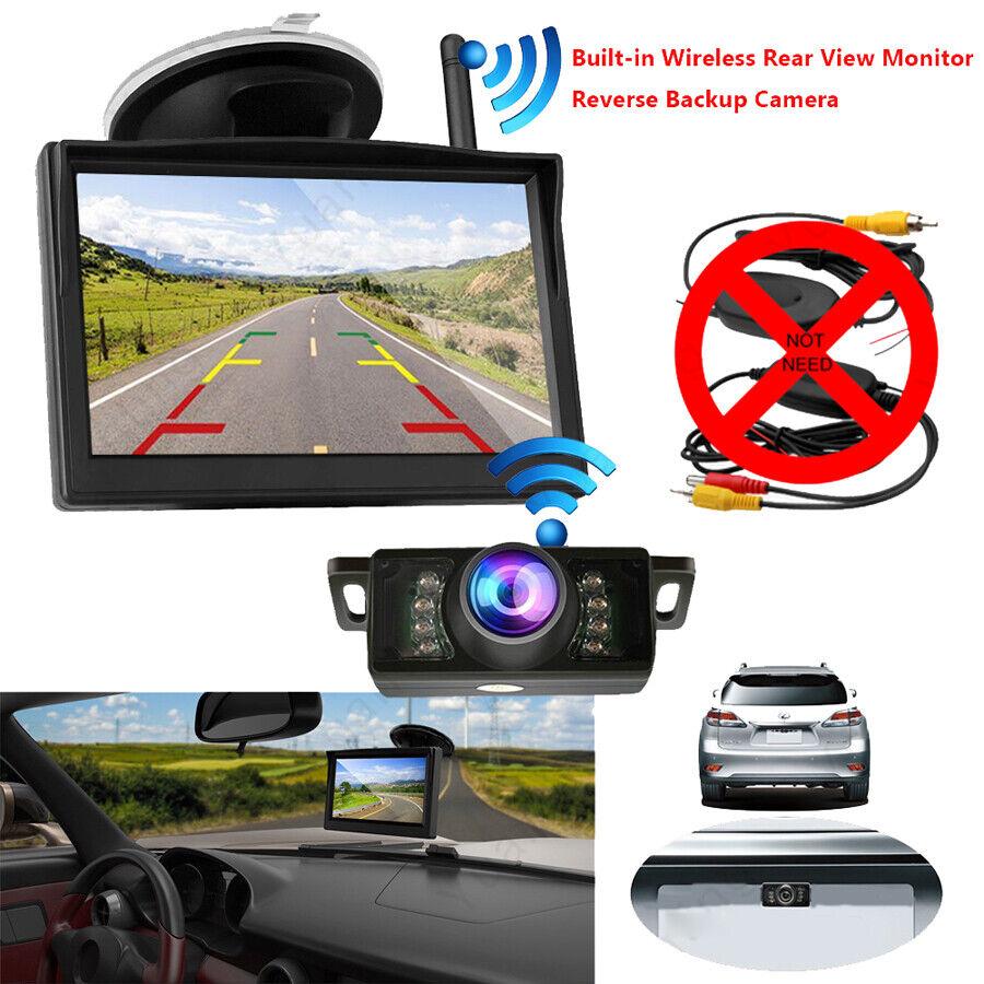 "License Plate IR Night Reversing Backup Camera Wireless 5/"" Color LCD Monitor"