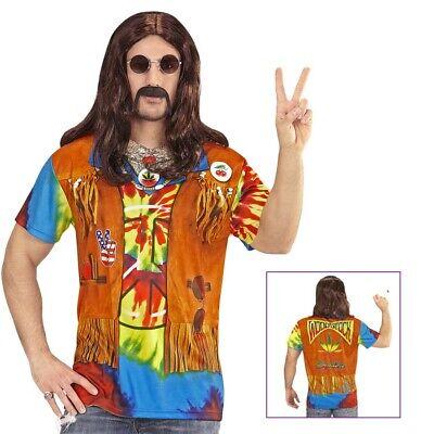 3D HIPPIE SHIRT HERREN # Karneval 60er 70er Jahre Kostüm Motto Party Hemd # - Hippie Shirt Kostüm