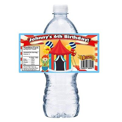 Circus Party Favors (20 CIRCUS FAIR PERSONALIZED BIRTHDAY PARTY FAVORS WATER BOTTLE LABELS)