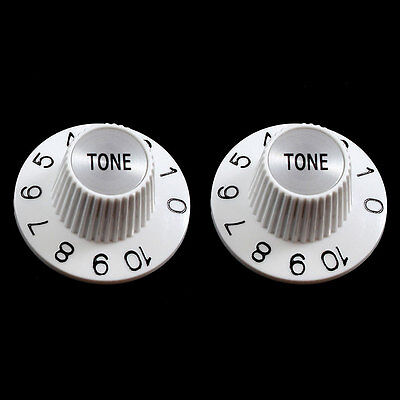 NEW (2) Witch Hat TONE Knobs For Split Shaft Pots Gibson Epiphone - WHITE - White Witch Hat