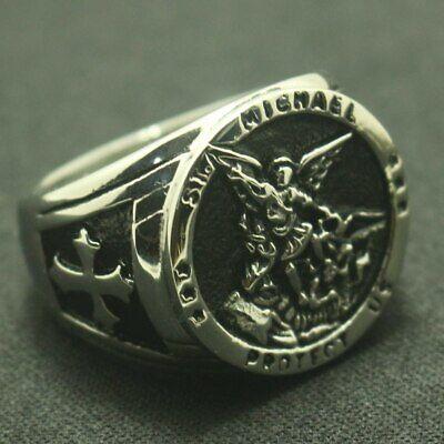 Ring For Men Saint Michael 316L Stainless Steel Rock Punk Biker Gothic Style