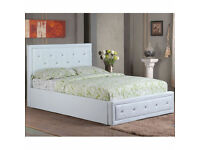 SINGLE,DOUBLE,KINGSIZE LEATHER OTTOMAN BED FRAME WITH DIAMOND HEADBOARD & MATTRESS- Brand New