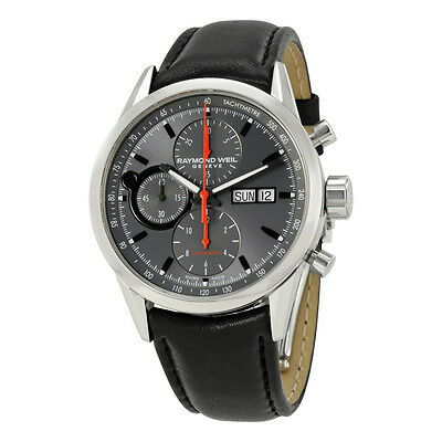 Raymond Weil Freelancer Automatic Grey Dial Black Leather Mens Watch