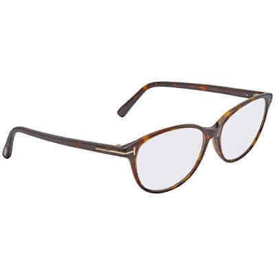 Tom Ford Ladies Havana Cat Eye Eyeglass Frames FT5421-52-53 FT5421-52-53