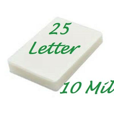 25 Letter 10 Mil Laminating Pouches Laminator Sheets 9 X 11-12 Scotch Quality