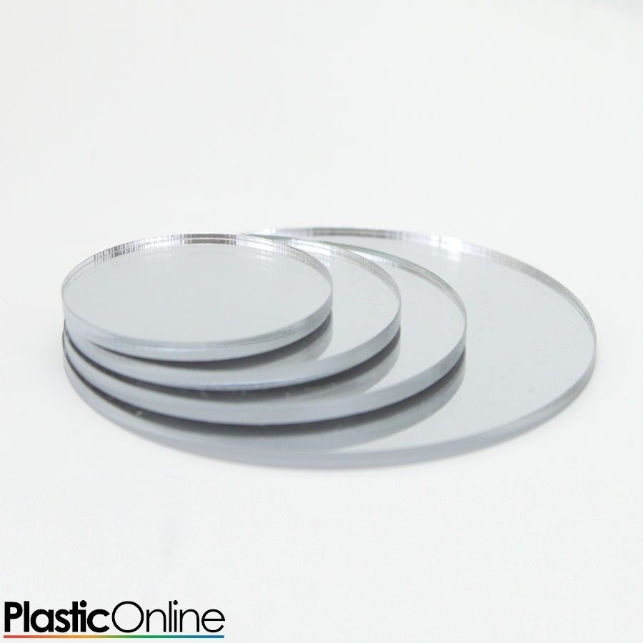 Silver Mirror Laser Cut Plastic Circles 3mm 5mm Thick Acrylic Discs