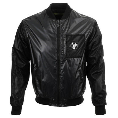 VERSACE JEANS Nylon Bomber Jacket - Black - UK 38/IT 48