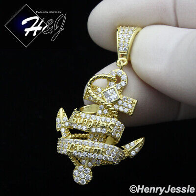 MEN WOMEN 925 STERLING SILVER LAB DIAMOND ICED GOLD SAILING ANCHOR PENDANT*GP238