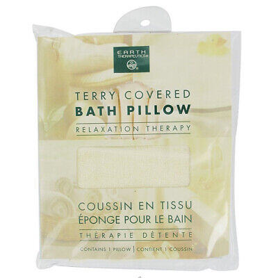 Earth Therapeutics Terry Covered Bath Pillow Inflatable Spa Travel -