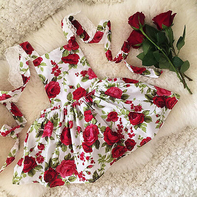 US Boutique Floral Toddler Kids Girls Lace Flowers Dress Summer Sundress Party - Kids Clothes Boutiques