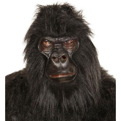 SCHWARZE GORILLA LATEX MASKE # Karneval Affen Dschungel Tier Kostüm Party 01119