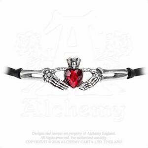 Alchemy Gothic Pewter Claddagh By Night Red Crystal Heart Skull Choker Necklace