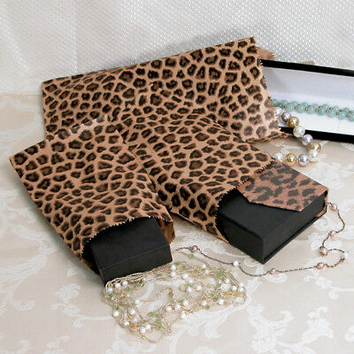 LOT OF 100 GIFT BAGS STORE BAGS MERCHANDISE BAGS PAPER BAGS JEWELRY LEOPARD BAGS - Large Paper Bags
