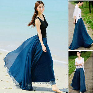 Maxi-Skirt-BOHO-Summer-Long-Elastic-Waist-Band-Dress-Chiffon-Womens-Lady-Girl