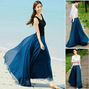 BOHO Summer Womens Lady Girl Elastic Waist Band Dress Chiffon Long Maxi Skirt