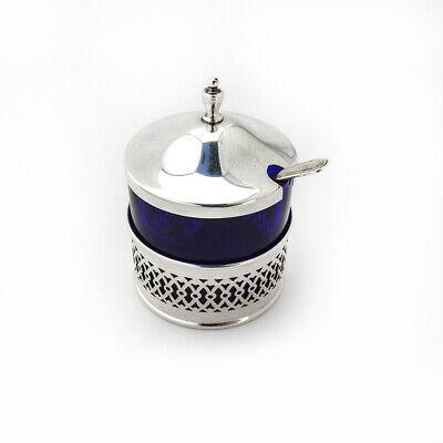 Cutwork Mustard Pot Spoon Set Cobalt Glass Webster Sterling Silver