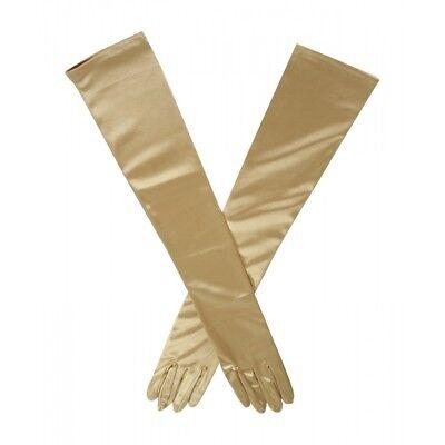 Elegant Golden Dress Gloves Extra Long Satin Elbow Length Gloves