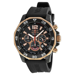 Invicta Signature II Chronograph Nautical Black Dial Black Rubber Mens Watch