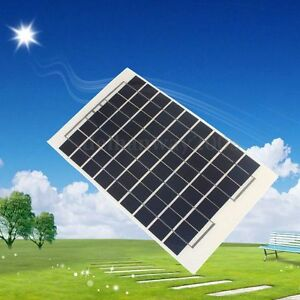 10W-12V-Solar-Panel-Battery-Charger-w-4m-Cable-Block-Diode-amp-Clips-Caravan-Boat