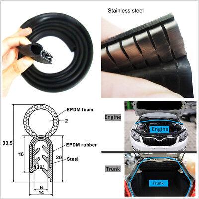 Car Bonnet Trunk Hood Edge Protector Seal Strip Noise Insulation EPDM Rubber 4M