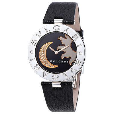 Bvlgari B.zero1 Black Dial With Sun And Moon Diamond Inlay Motif Ladies Watch