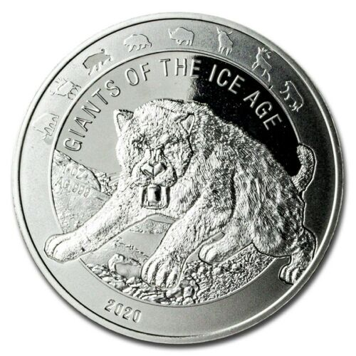 😃2020 Republic of Ghana 1 oz Silver Saber Toothed Cat BU 15K MINTED