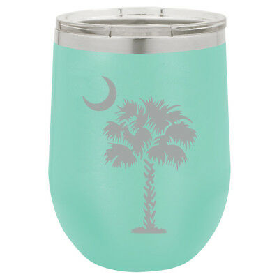 Stemless Wine Tumbler Coffee Travel Mug Palmetto Tree South Carolina Palm Moon