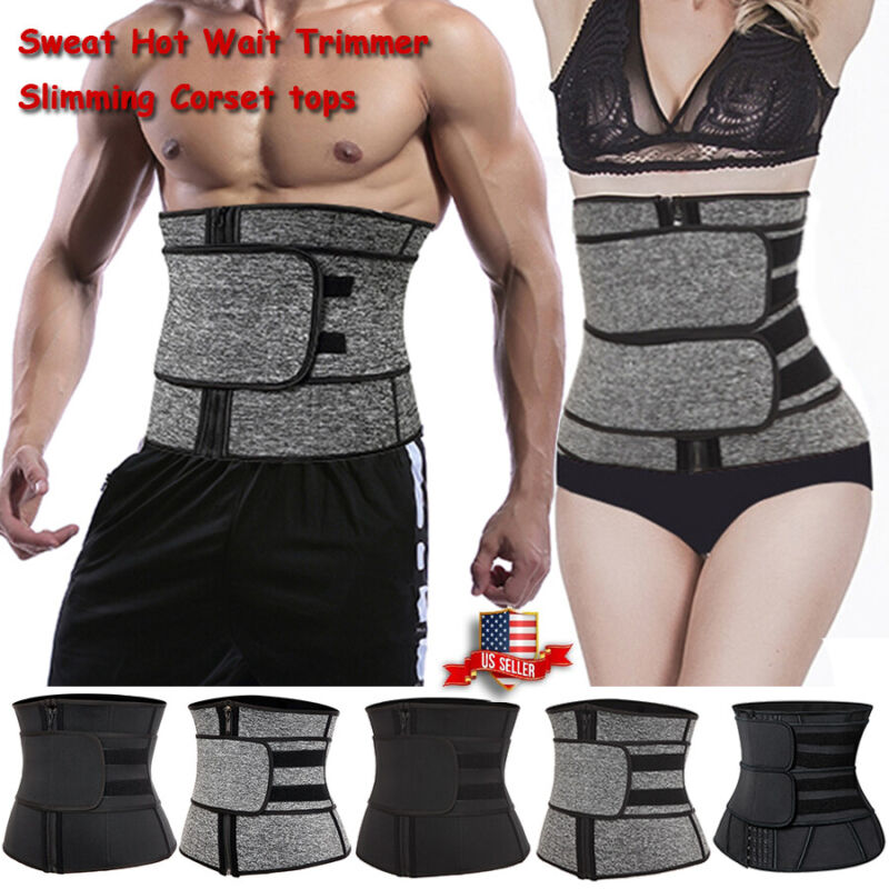 men women boned waist corset belt sauna