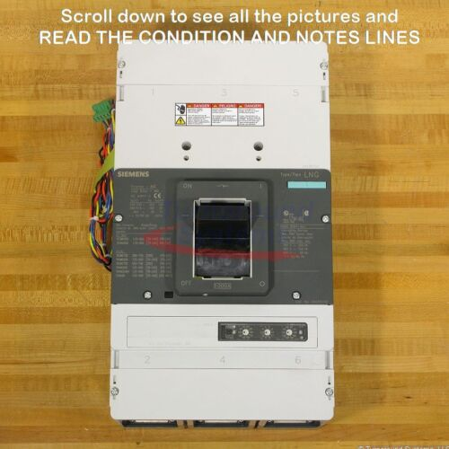 Siemens Lng Lnx3n100ma4ucx5 Breaker, 1000 Amp, 100 Kair, Aux Sw, Uvr, New!