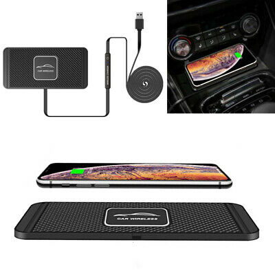 Qi Fast Car Wireless Phone Charger Pad Non-Slip Mount Holder for iPhone Samsung