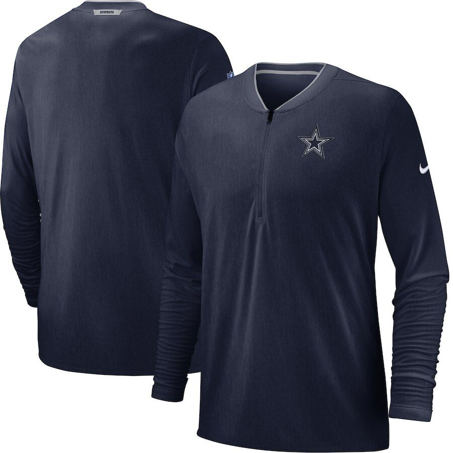 Dallas Cowboys Nike Sideline Coaches Half-Zip Pullover Jacket Navy NEW WITH TAGS