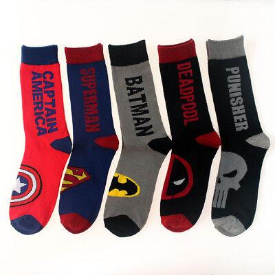 Batman Socks (Mens Cotton Superman Socks MARVEL COMICS Super Hero Batman Casual Socks 9-12)
