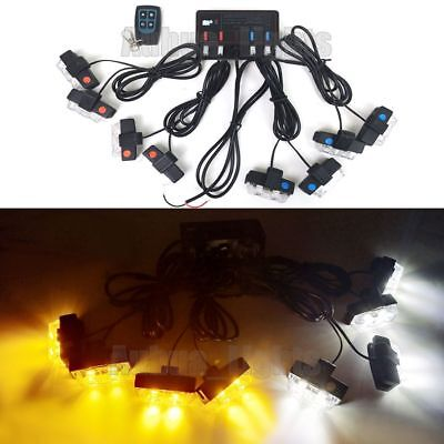 8in1 16 Led Remote Control Flash Strobe Warn Light Deck Dash Grill Amberwhite