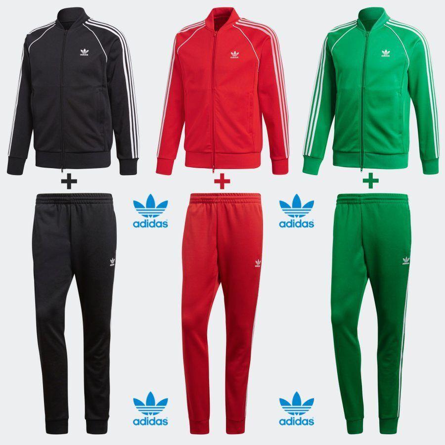 Details about ADIDAS Originals SST Track Training Set Jacket + Pants Black Green Red XS 4XL